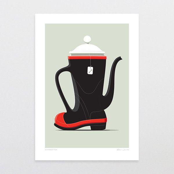 Gumboot Tea - Art Print by Glenn Jones Art - art to make you smile. Available in a range of sizes. Click image to buy online. www.glennjonesart.com