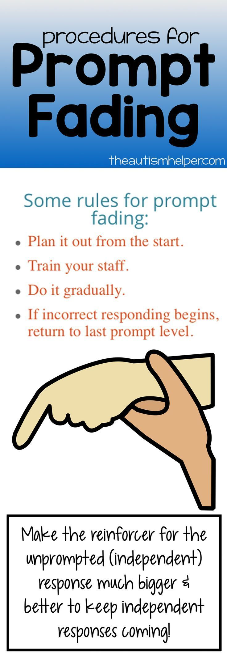 Learn why prompt fading needs to be in your prompting plan from the get-go on the blog! From theautismhelper.com #theautismhelper