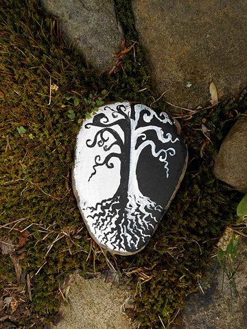 Black and White Tree- Painted Rock. $38.00, via Etsy.