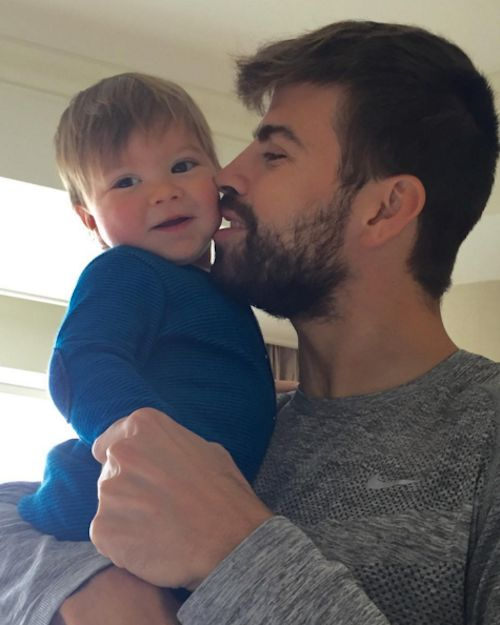Gerard Pique and his 11 month old son Sasha (January 3, 2016)