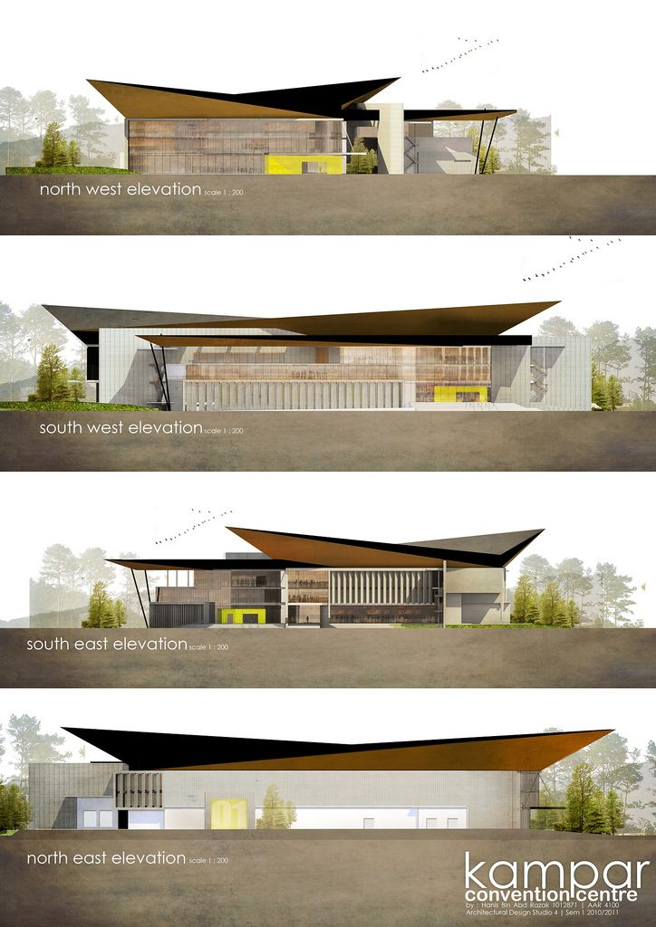 Four elevations of Kampar Convention Centre, each using the computer to create renders of the colour, pattern and texture of the fascade. A very direct and literal drawing of the final design.