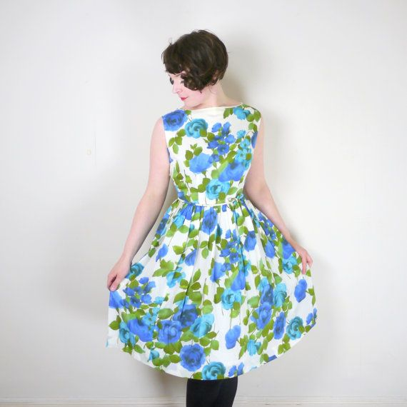 50s 60s BLUE rose print dress with fitted by SartorialMatters