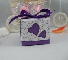 100pcs Love Heart Wedding Candy Favor Party Boxes Dark Purple Ribbon Include