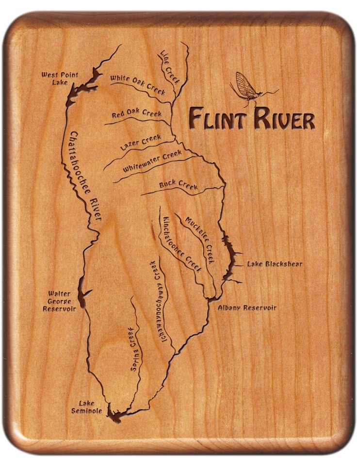 Flint river map fly box georgia cherry wood fly for Georgia trout fishing map