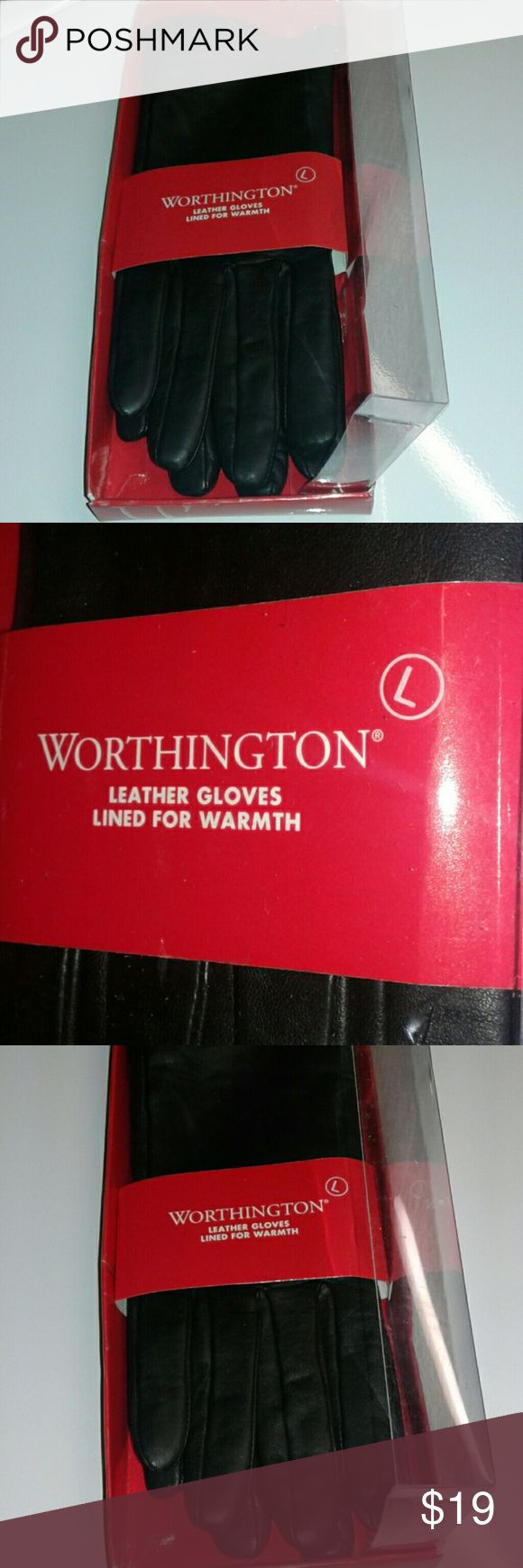 Ladies leather gloves designer -  Worthington Black Leather Gloves