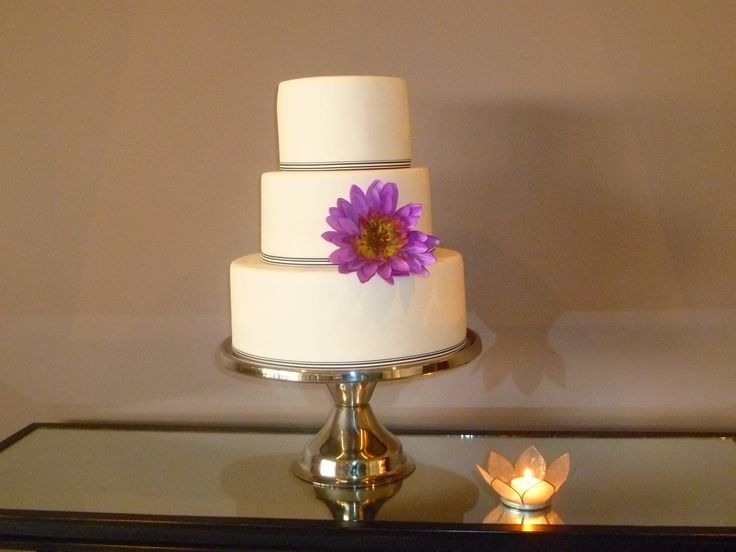 3 tier wedding cake - classic black and white