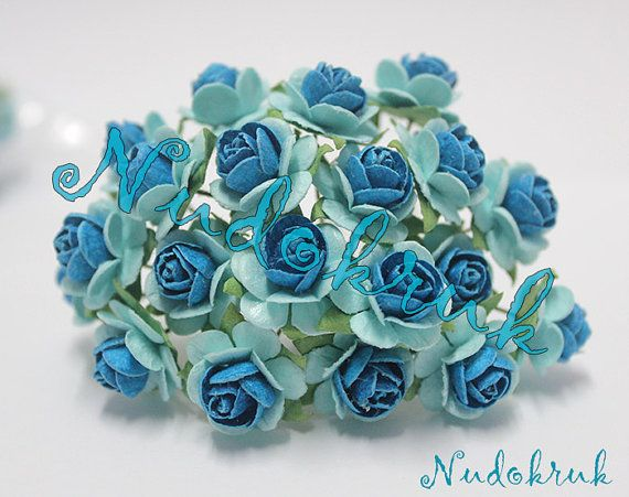 100 Blue & light blue  color Mulberry Paper Rose Flower handmade size 1.5 cm. ,scrapbooking