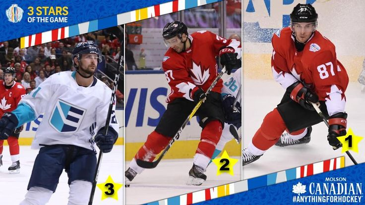 Sept.29 2016 - 3 Stars: Team Europe vs. Team Canada Tomas Tatar, Patrice Bergeron, Sidney Crosby honored.