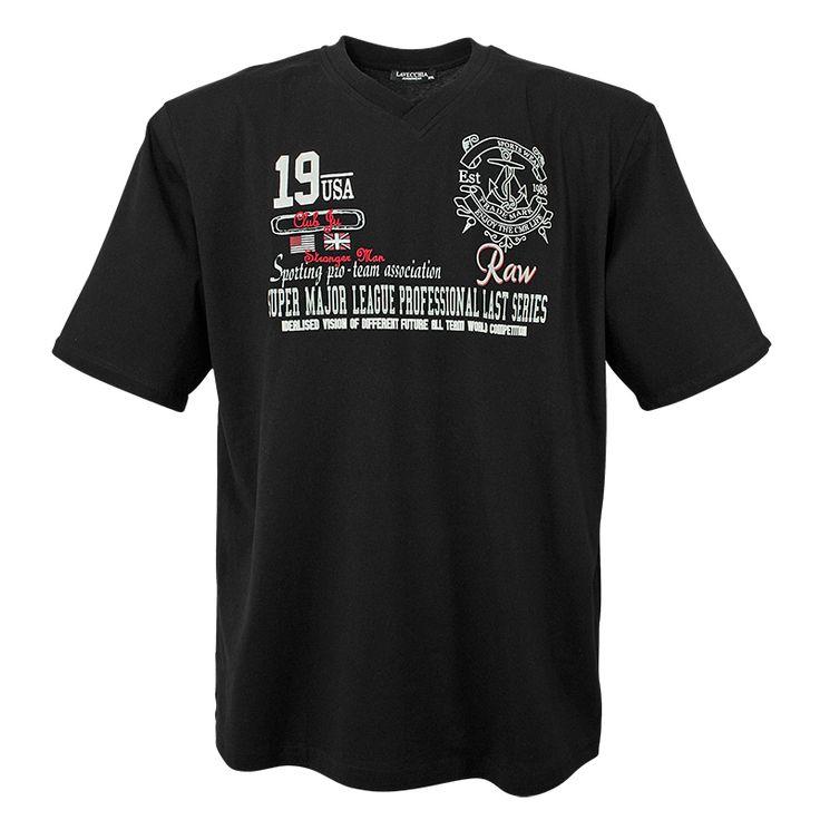 T-Shirt Schwarz V-Neck mit Aufdruck