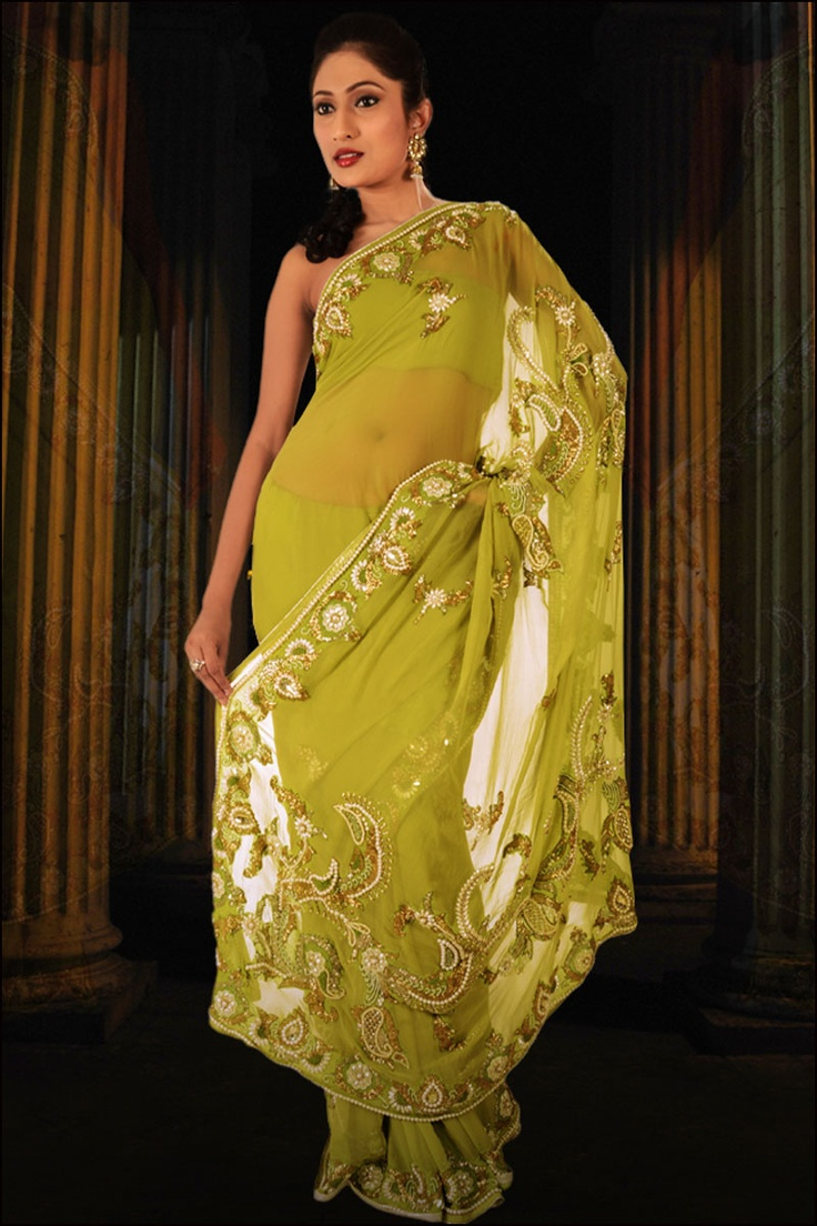 embroidered saree | Olive Green Wedding and Festival Embroidered Pure Chiffon Saree