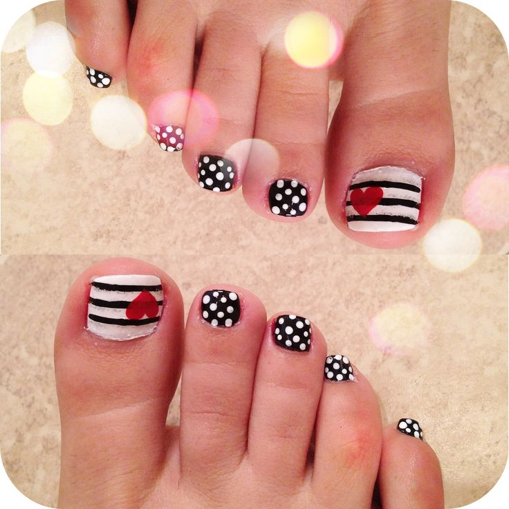 Love my Pedicure nail design. Stripes, polka dots, hearts, black & white