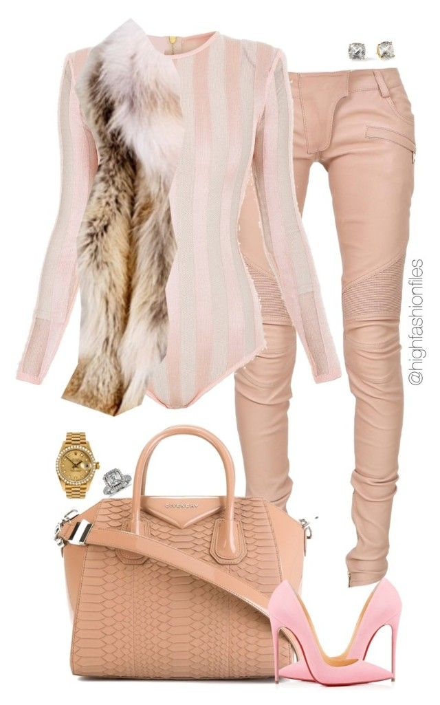 """""""Pink"""" by highfashionfiles ❤ liked on Polyvore featuring Balmain, Givenchy, Christian Louboutin, Kate Spade, Rolex and Blue Nile"""
