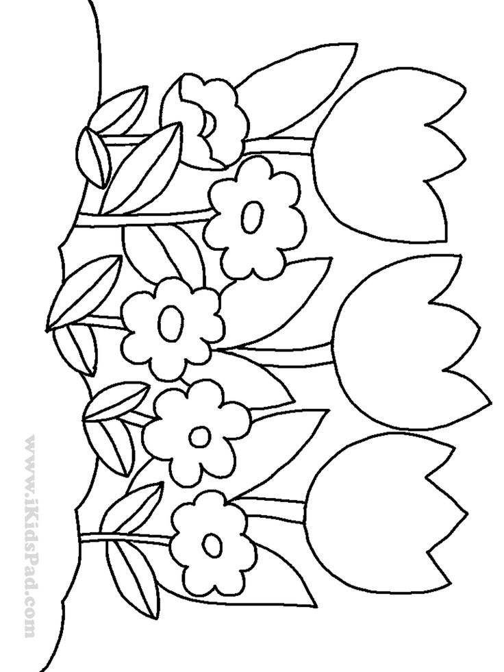 Row of tulip flowers coloring pages for kids coloring for Coloring pages for kids flowers
