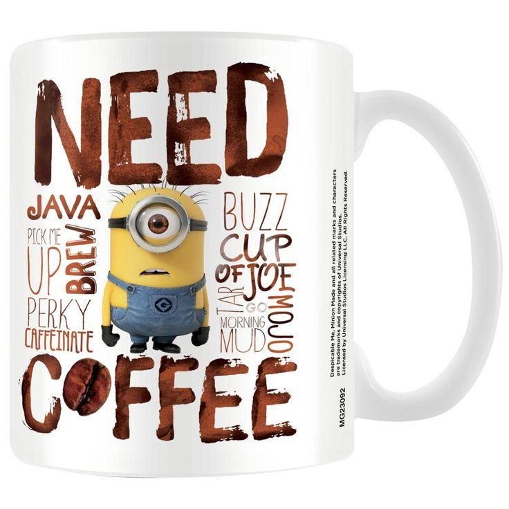 """Tazza in ceramica bianca """"Need Coffee"""" dei #Minions con stampa."""