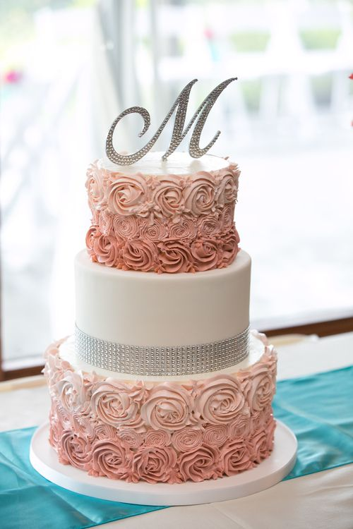 mini wedding cakes seattle ombre buttercream rosette cake with rhinestone trim jpg 17429