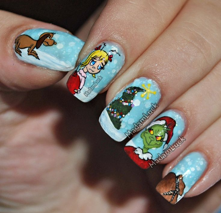 The Grinch Inspired Nail Art