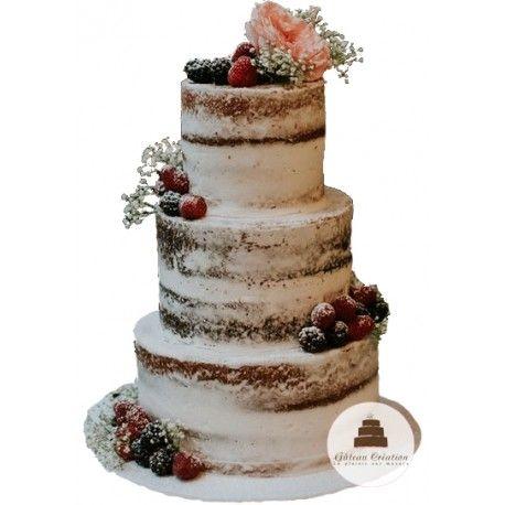 Pièce montée Nude fruitdécoréede fleurs et de fruits rouges. Unwedding cake originalet idéal pour unthème bohème vintage. Gâteau Création vous propose des wedding cake sur mesure et personnalisé à la Française pour que votre gâteau de mariage soit aussi bon que beau.