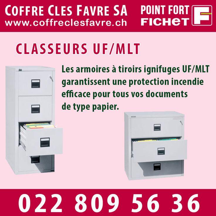 Classeur anti-Feu UF/MLT Les armoires à tiroirs ignifuges UF/MLT garantissent une protection incendie efficace pour tous vos documents de type papier.  #classeur #Pointfortfichet #Geneve #securite #antifeu