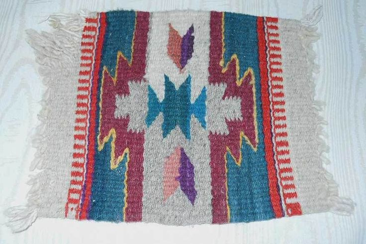 Southwestern GEOMETRIC WOOL RUG Chair Cover Vintage Textile Woven Hanging Decor #southwestern