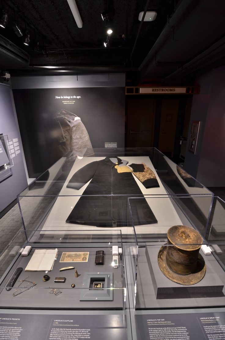 "Cases including the contents of Abraham Lincoln's pockets, Top Hat and Greatcoat from the night of the assassination. Items now on display as part of ""Silent Witnesses"" at the Ford's Theatre Center for Education and Leadership. Photo by Gary Erskine."