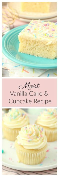 This perfectly Moist Vanilla Cake Recipe is a more dense cake with a tight crumb. Instead of light and fluffy this is more like a sponge cake. It's packed full of vanilla and after the first bite, you know it's homemade. This recipe can make either a vanilla cake or a vanilla cupcakes.