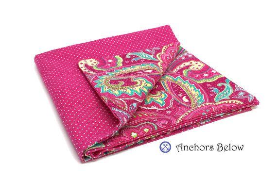 Pink paisley pocket square