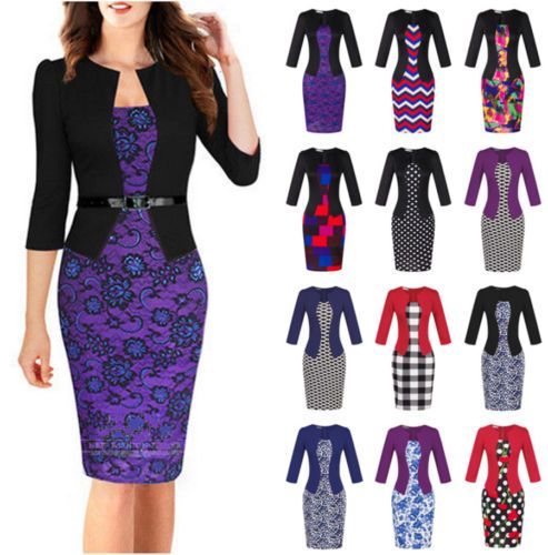 Lot-Styles-Women-039-s-Office-Bodycon-Pencil-Dress-Evening-Party-Cocktail-Dress-Sets