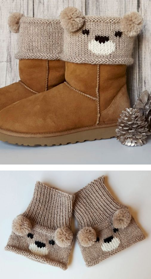 Free Knitting Pattern for Teddy Bear Boot Toppers - A colorwork bear face and pom pom ears create an adorable boot cuff designed by Alexandra Davidoff. teddy Bear pattern is free.Koala and Panda boot topper patternsare available at Annie's.