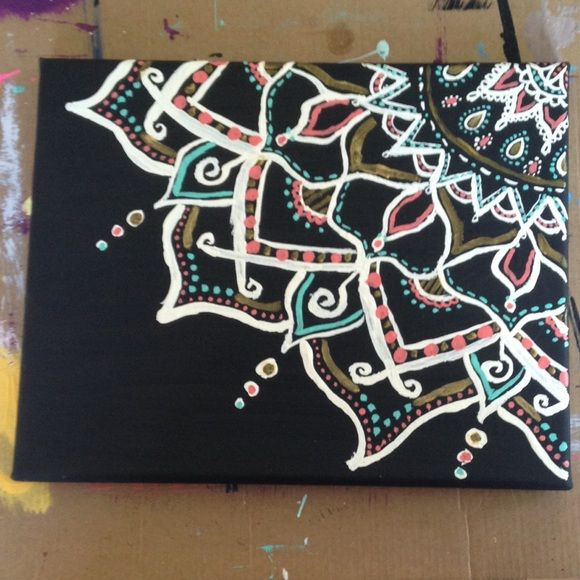 Hand painted 8x10 canvas acrylics pandora and hand painted Diy canvas painting designs