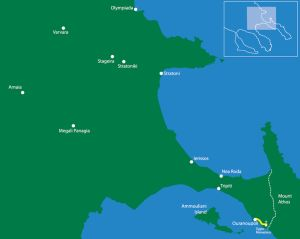 Following the borderline to Athos (archaeological route) From Ouranoupoli Tower to Zygos Monastery