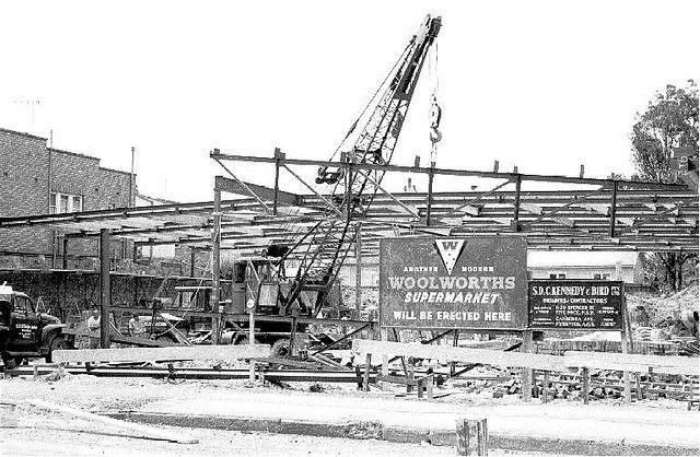 Shops under construction, Pitt St, Merrylands, 1961