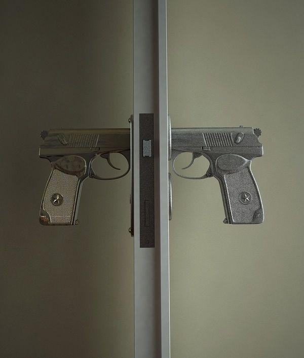 9mm Makarov door handles. Baller!