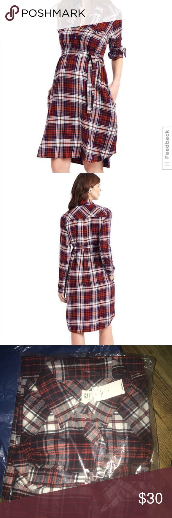 NEW Gap Plaid Tie Belt Shirt dress Small Brand new in plaid in red, navy blue, ( looks black but is dark navy) and white  Size small This is not named a maternity dress on the Gap site (where I purchased) but it shows that an expecting mother could easily wear with the belt GAP Dresses