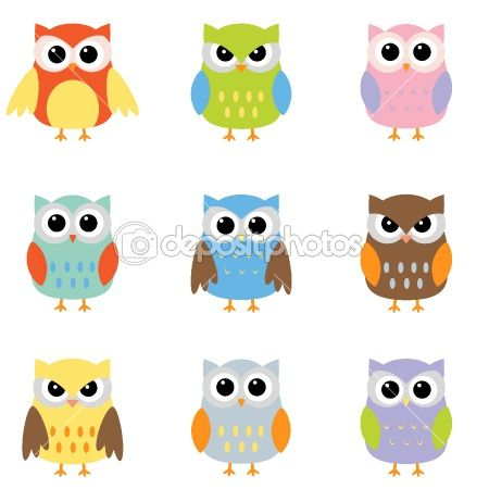 what is an owl symbolic of   Color owls clip art   Stock Vector © yuliya_m #6060737