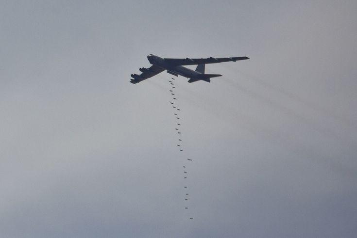 The Aviationist » Stunning pics of a B-52 strategic bomber doing some heavy carpet bombing in Jordan