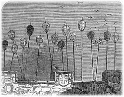Hanged, drawn and quartered - encyclopedia article about Hanged, drawn and quartered.//The spiked heads of executed criminals once adorned the gatehouse of the medieval London Bridge.