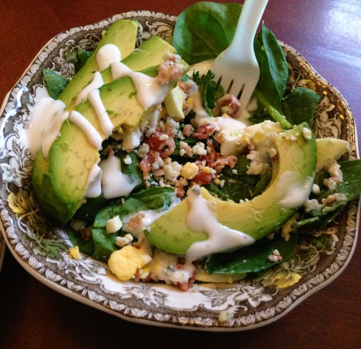 daughter's Avocado Salad. Not the best pic, but great taste! Spinach ...