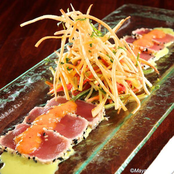tiradito de atún   ahi tuna, vegetables, ginger-yuzu sauce, mango granita