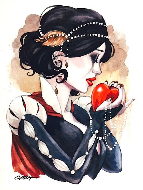 Glossy archival full color art print of a watercolor painting by Carla Wyzgala inspired by the fairytale Snow White with her red apple of poison. Great gift for any fairytale lover! Hand signed in fro