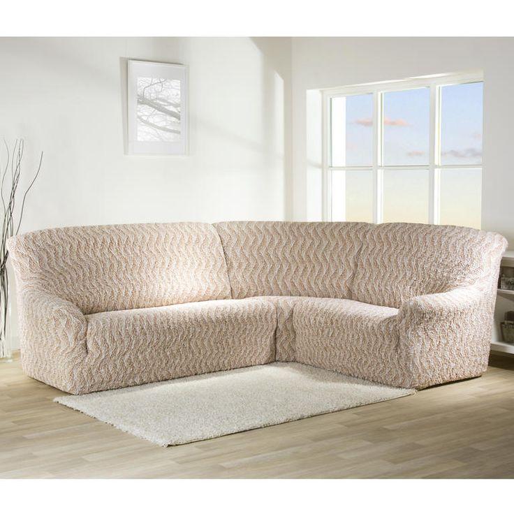 Bielastické poťahy INFINITO béžové rohová sedačka (š. 350 - 530 cm) - 1