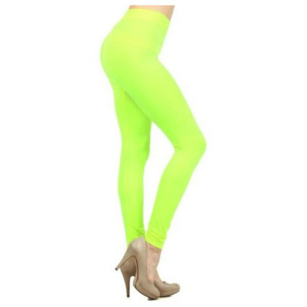 Women's Basic Ultra Stretchy Full Length Casual Leggings ($7.49) ❤ liked on Polyvore featuring pants, leggings, lime, stretch trousers, stretchy leggings, legging pants, green leggings and lime green leggings