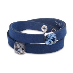 Bransoletka srebrna Swarovski - niebieska
