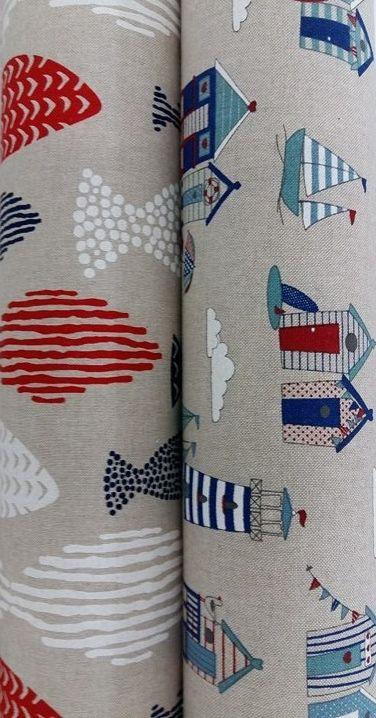 Tissus imitation lin motifs cabines de plage - Tissus imitation lin motifs poissons