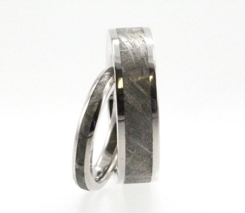 Meteorite Ring inlaid in Titanium  Wedding Band by jewelrybyjohan, $888.00