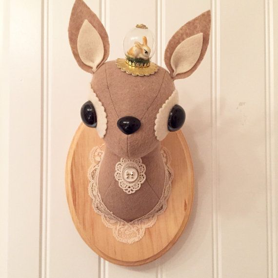 Deer Taxidermy. Perfect for a nursery or childrens room. Mounted on a wood plaque which has a sawtooth hanger already attached. Plaque measures 9