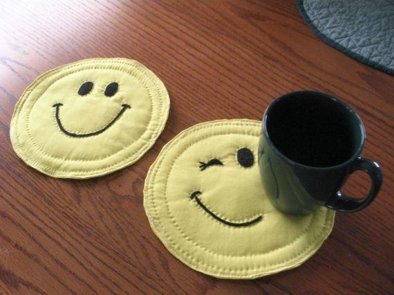 Happy Face Mug Rugs 2 by hollyzhobby on Etsy