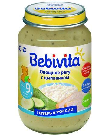 Bebivita овощное рагу с цыплёнком 9 мес. 190 г  — 75р. --------- Пюре Bebivita овощное рагу с цыплёнком 9 мес. 190 г - готовое к употреблению детское питание с нежной консистенцией и маленькими кусочками. Мясо цыпленка можно употреблять без вреда для здоровья в большем количестве, чем мясо других сортов, так как в нем ...