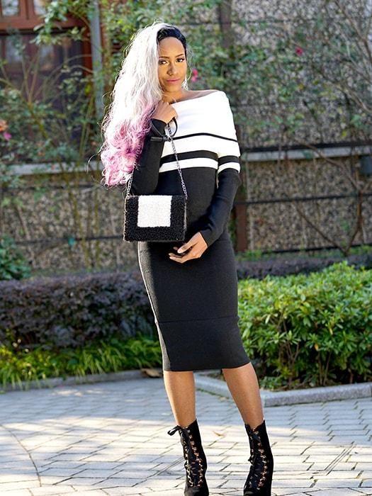 e61c18e4aa9 Color block Off-the-Shoulder Sweater Dress