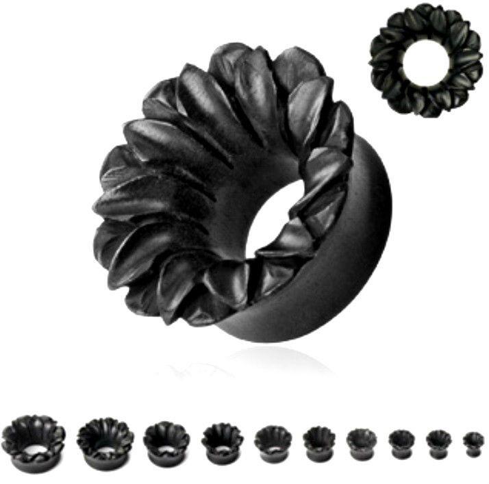 "PAIR Black Lotus Flower Organic Areng Wood Hand Carved Ear Plug 2ga-1""Gauge(021)"
