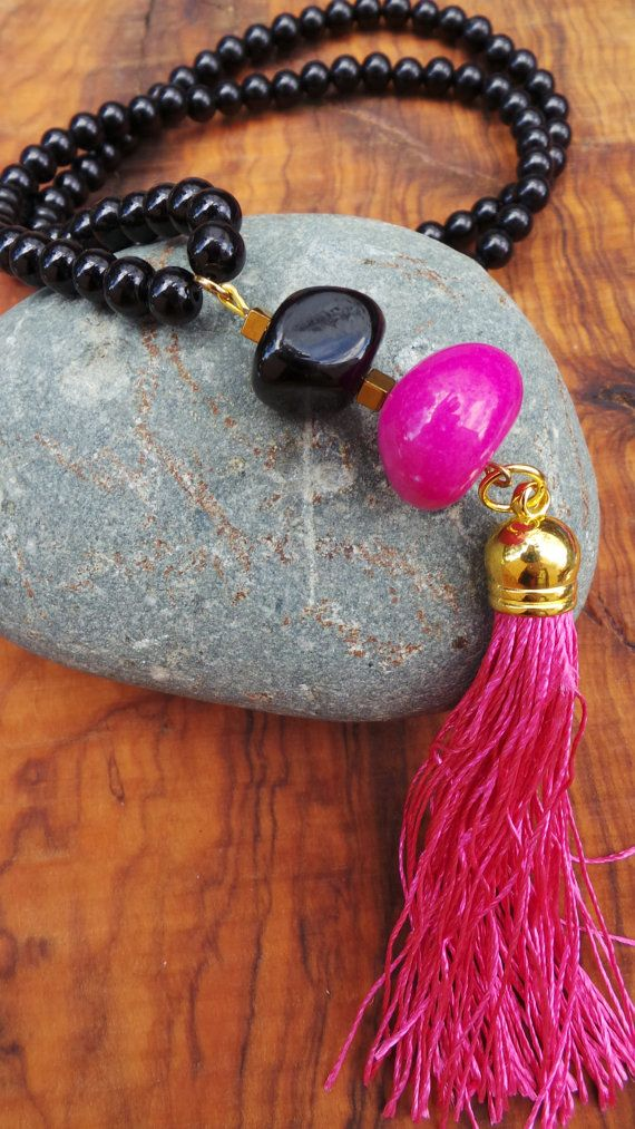 Long beaded black and pink tassel necklace. Pink and black bohemian necklace…